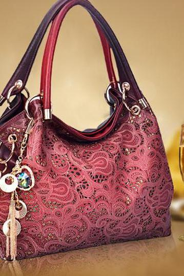 New Beautiful women's geniune second leather vintage pattern shoulder bag
