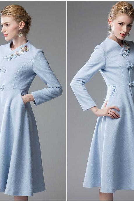 Elegant Vintage Design Light Blue Long Winter Coat
