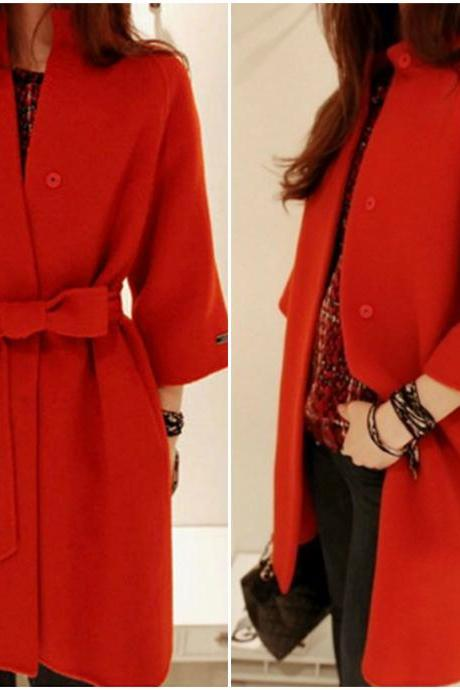 Deep Red Winter Coat with Belt