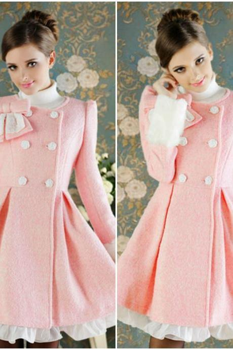 Adorable Pink Double Breasted Winter Coat with Bow