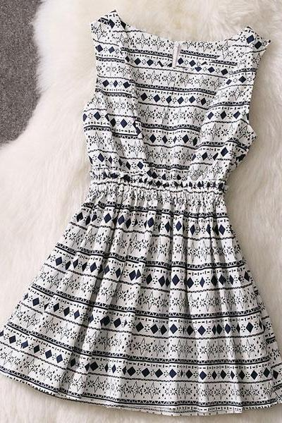 Fashion Geometry Houndstooth Dress