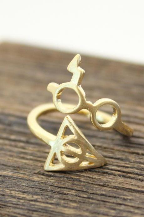 Cute Harry Potter Glasses nd Deathly Hollows Adjusted Ring in Gold
