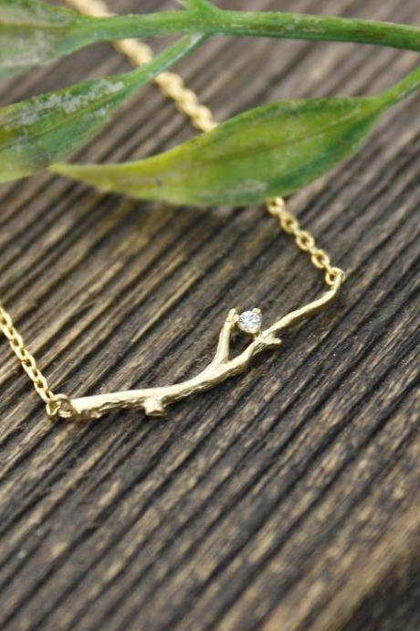 Delicate Branch Necklace detailed with CZ in Gold