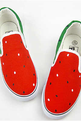 Round-Toe Watermelon Print Canvas Slip-On Sneakers