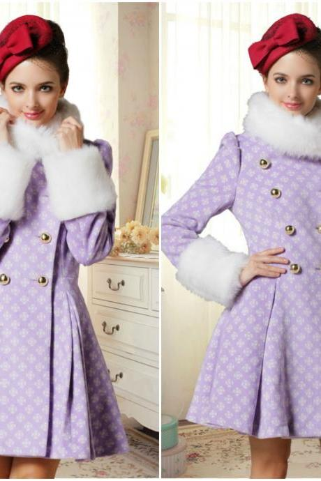 Luxury Double Breasted Faux Fur Design Purple Winter Coat