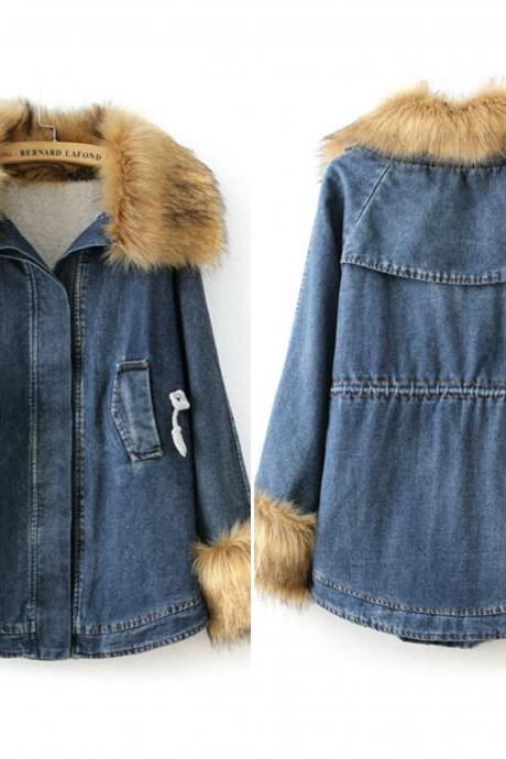 Faux Fur Design Hooded Denim Jacket
