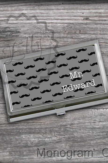 Mustaches Business Card Holders - Custom card holder case, personalized card keeper