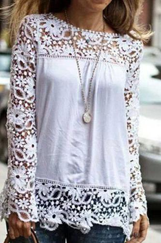 Fashion Hollow Out Lace Spliced Chiffon Shirt [grxjy562376]