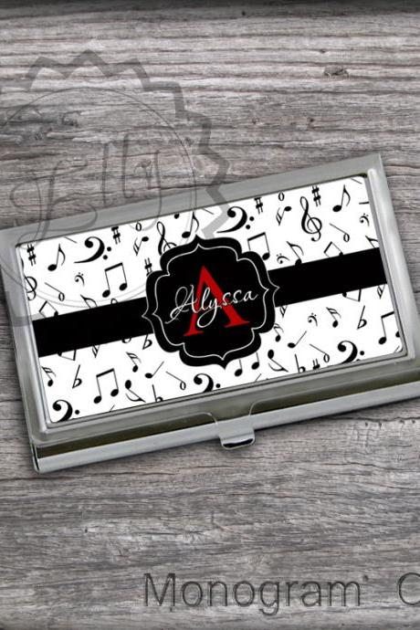 Musical Business Card Holder - Notes cardholders design, stainless steel card keeper case, personalized monogram case