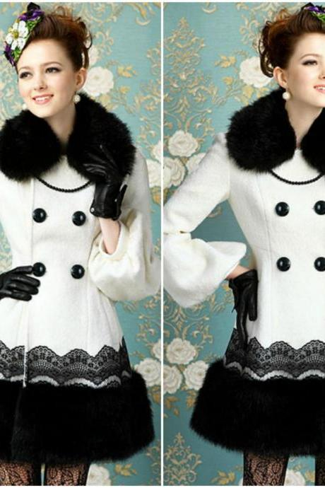 Elegant Black And White Faux Fur Coat With Lace Detail