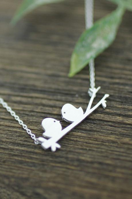 Cute Love birds on the branch necklace in silver