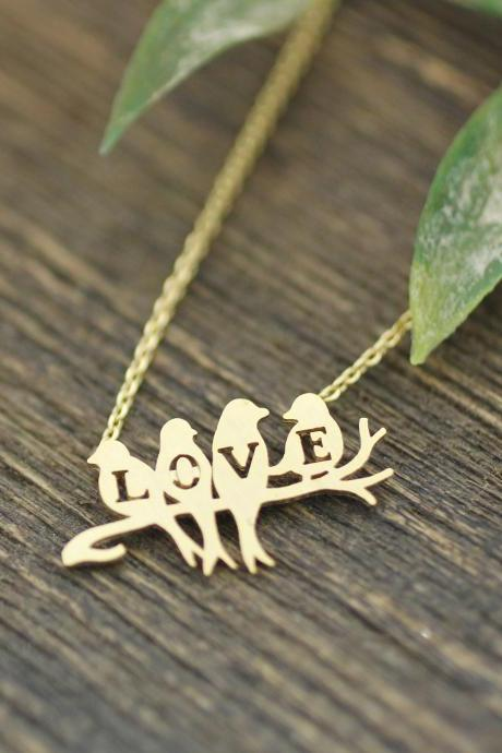 Love birds on the branch necklace in gold