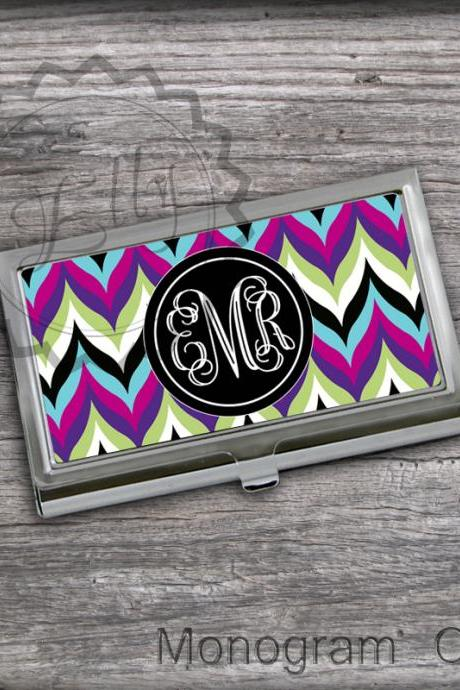 Mixed chevron Card Case - Monogrammed Card Holder, personalized gift case, office accessory card holder