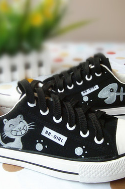 Canvas shoes female low to help couples catfish hand-painted shoes mens casual shoes