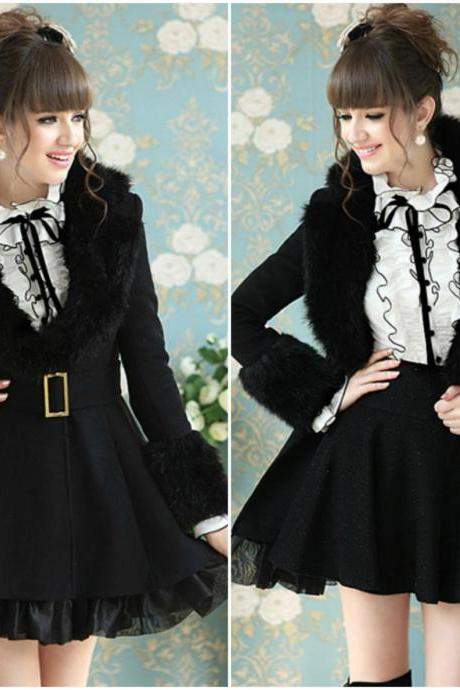 Black Organza Hem V Neck Faux Fur Design Winter Coat