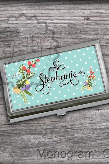 Name or Monogram Card Holder - Spring flowers and Dots For Business owner card holder, personalized gift, office card case