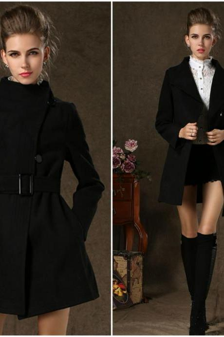 Black Winter Coat With Belt