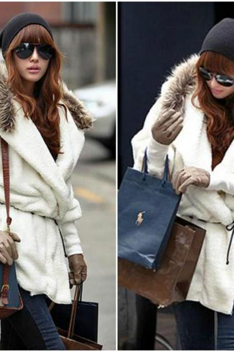 Stylish Faux Fur Hooded White Coat