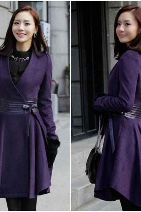 Beautiful V Neck Purple Woolen Winter Coat
