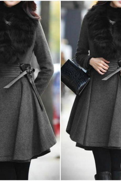 Dark Grey Faux Fur Design Winter Coat