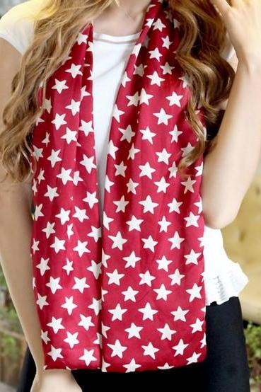 Accessory SALE Women Fashion Floral Print Star Pattern Chiffon Scarf as Traditional Holiday Family Exchange Christmas Stocking Stuffers Women Gift