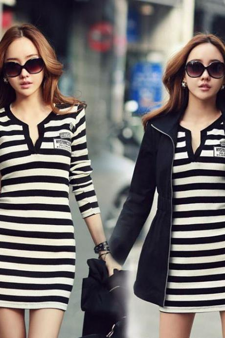Women's Dress Long Tops With V Neck Badge Striped