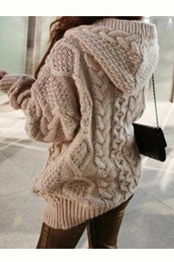 Fahion Knitting Thickening Hooded Cardigan Coat with Hat