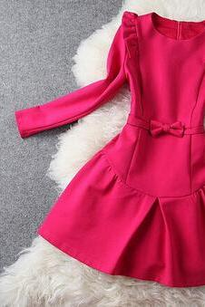 Cute Bow Stitching Round Neck Dress