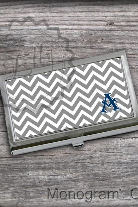 Gray Business Card Holder - Letter Customized Card Case, Monogram Card Case, Card Holder gift