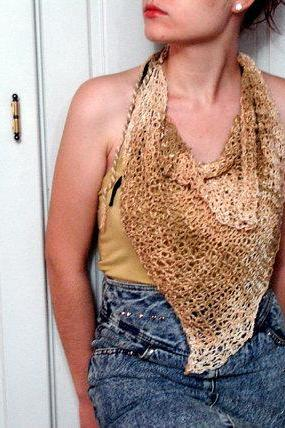 Natural Earth Tones Hand knitted Scarflette hanky Triangle Scarf Neckwarmer Fashion