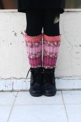 Colorful Boot Cuffs,striped knit boot socks, Multicolored knit leg warmers