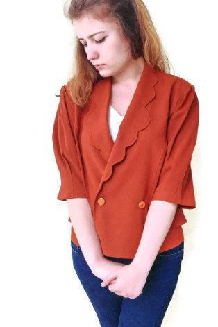 Vintage brunt orange ,Double Breasted Bronze Cropped Tuxedo Jacket