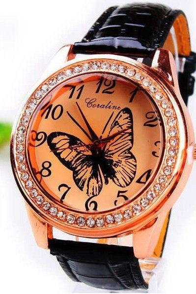 Butterfly rhinestones dress leather girl watch