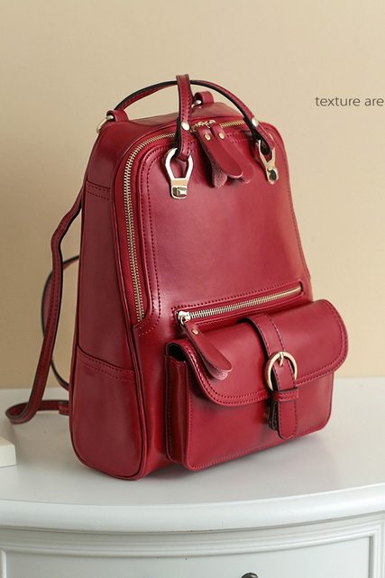 New Ladies Leather Backpack School of wind