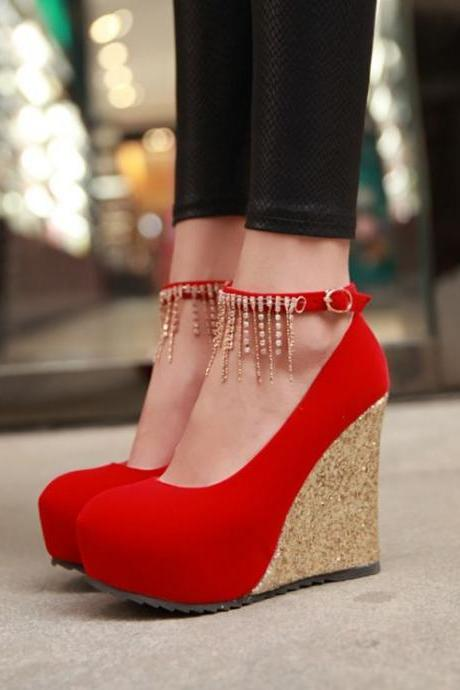 Red Rhinestone Embellished Wedge Shoes