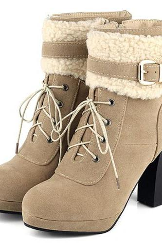 Cheap Winter Fashion Round Toe Patchwork Buckle Design Lace Up Chunky High Heel Apricot Suede Ankle Martens Boots