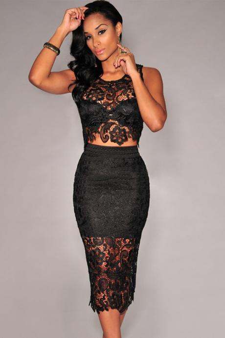Cheap Sexy O Neck Tank Sleeveless Floral Lace Hollow-out Black Polyester Two-piece Sheath Knee Length Skit Set