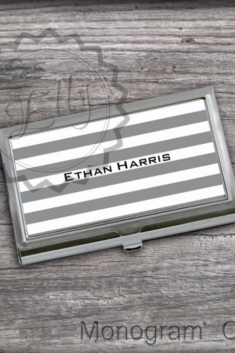 Stripes pattern Business Card Holder - Personalized Card Case, Store credit Cards, graduation gift case