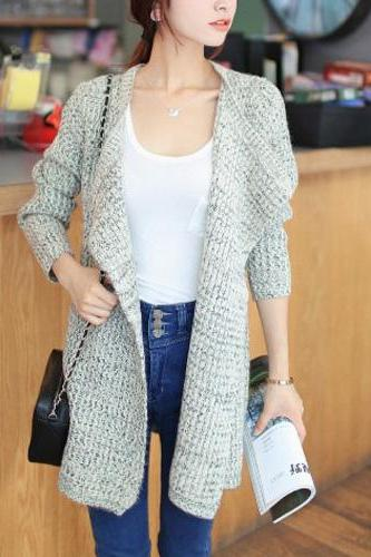 Fashion Long Sleeve Lapel Knitting Cardigan