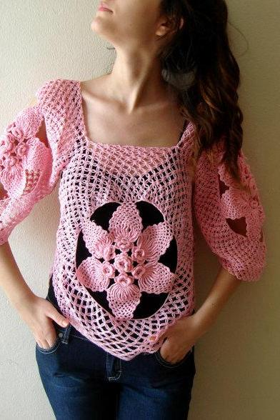 Fishnet top, Pink Cochet Sweater, Dollies Lace Blouse, Flapper summer tunic