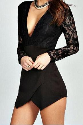 V-Neck Long-Sleeved Lace Jumpsuit