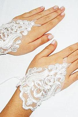 Ivory Lace Fingerless Gloves