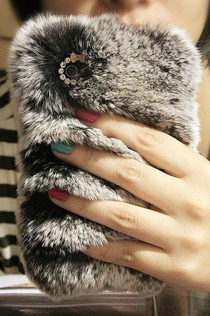 Luxury real top rex rabbit hair fur plush Soft leather back cover case for iphone 6 plus 5.5 4.7 inch Diamond elegant cute case