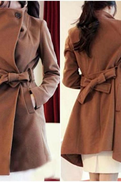 Chic Turn Down Collar Light Tan Winter Coat