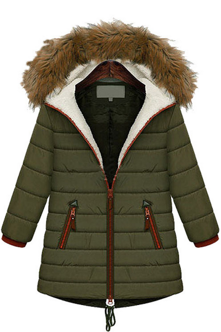 Quilted Cotton-Padded Fur Hooded Winter Down Jacket