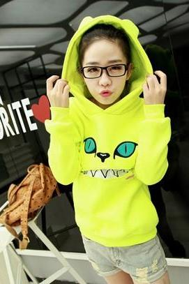 fashion and cute Hooded Zippered Cat Fleece Sweatshirt sweater