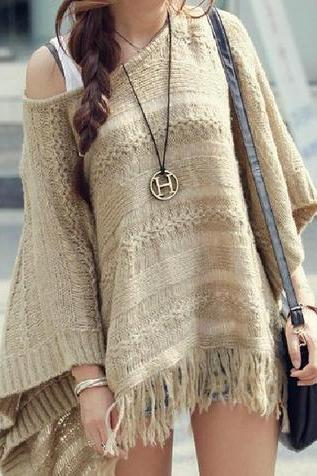 fashion and cool and cute COLLAR SWEATER TASSEL CLOAK SHAWL