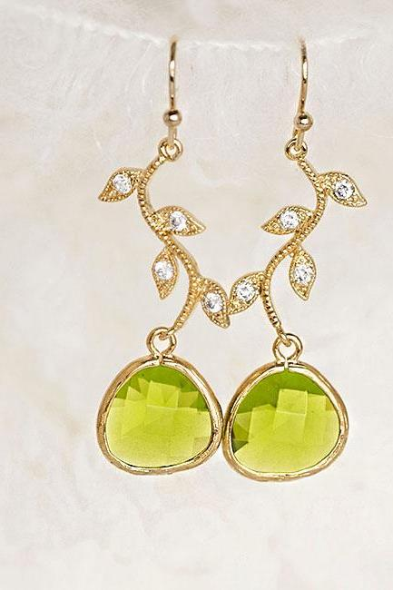 Peridot Green Teardrop CZ Leaf Dangle Earrings, Wedding Jewelry