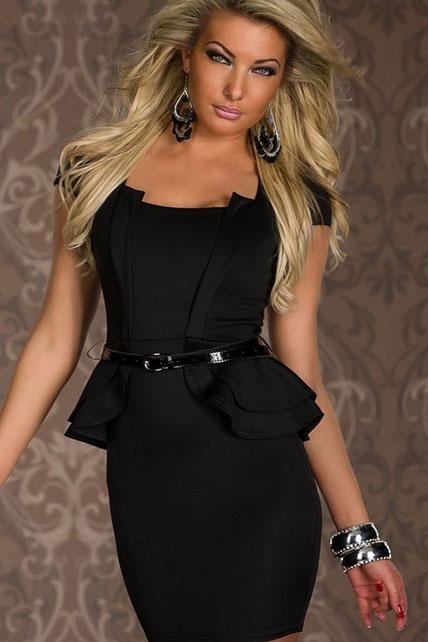 Sexy Elegance Black Peplum Dress with Belt