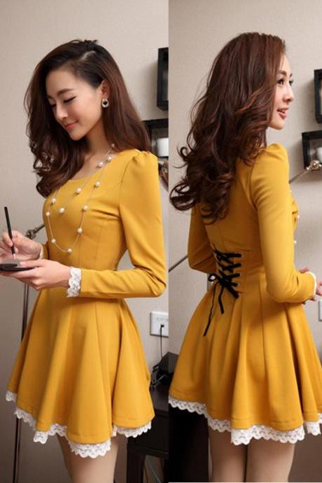 Lacing Up Back Lace Hem Long Sleeves Yellow Dress